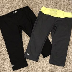2 Pairs Under Armour Fitted Capris